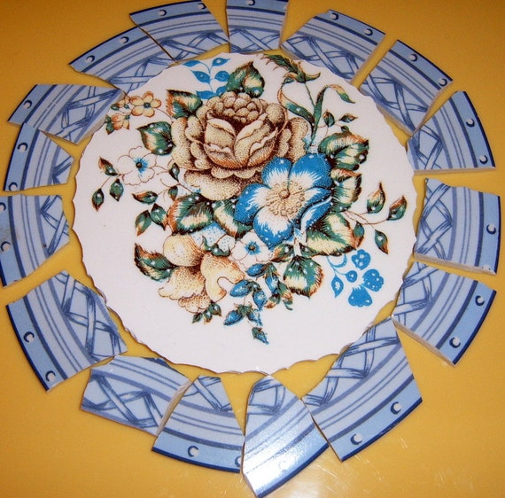 Broken China Mosaic Focal, Mosiaic Supplies, Hand Cut Mosaic Tile, Vintage