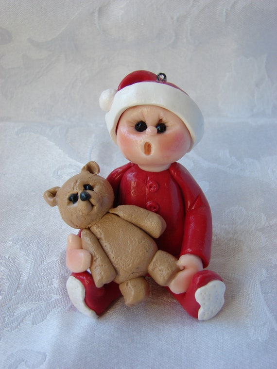 Tush Showing Baby's Polymer Clay Children's  First Christmas or Birthday Cake Topper/Ornament/Figurine.  A handcrafted art sculpture.