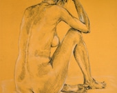 "ooak art nude woman in pastel pencils on a ochre background original drawing big size 39,4""x27,6"" (100x70 cm)"