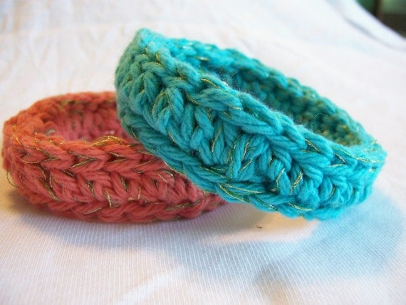 Bangle Cotton Crochet Fiber Bracelets with Soft Metallic Thread Turquoise and Coral Set of Two Ready to Ship