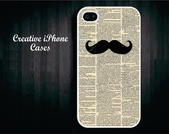 Dictonary Mustache Art iPhone 4/4S or 5, Samsung Galaxy S3 or S4, and iPod Touch 4 or 5