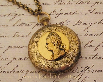 """MARIE ANTOINETTE Jewelry. LOCKET Necklace. French Inspired Jewelry. Vintage Style Parisian Necklace. """"Cameo"""" Profile on Large Locket"""