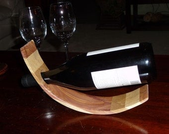 Curved Wine Bottle Holder - Wood