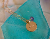 Aquarius Necklace - small gold Aquarius Zodiac Pendant on 14k Gold Filled Chain with Amethyst or CHOOSE GEMSTONE - Tiny Dainty