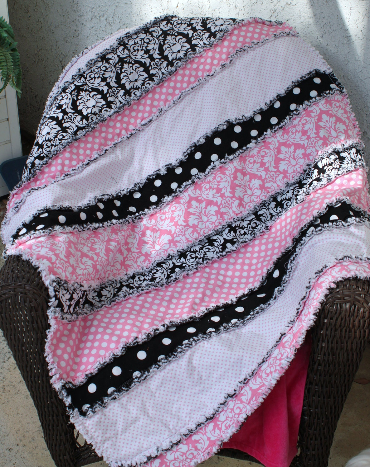 A Rag Quilt For Little Girls 38 X 50 Pink Black And White For