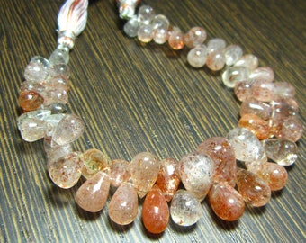 "AA-Sunstone Smooth Shaded Tear Drops 7"" Strand -Stones measure-5x7-9x13mm"