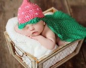 Crochet Strawberry Hat with Leaf Cape - PDF Pattern (5 sizes)