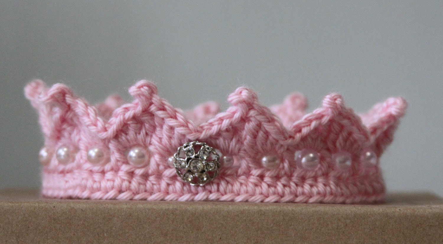 Crochet Baby Girl Clothes Patterns : Crochet Pink Princess Crown PDF Pattern 4 by ...