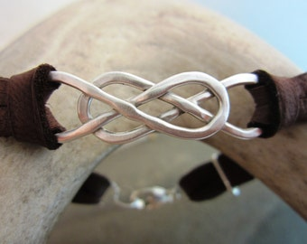 Sterling Silver and Deerskin Leather Double Infinity Bracelet - mens/womens