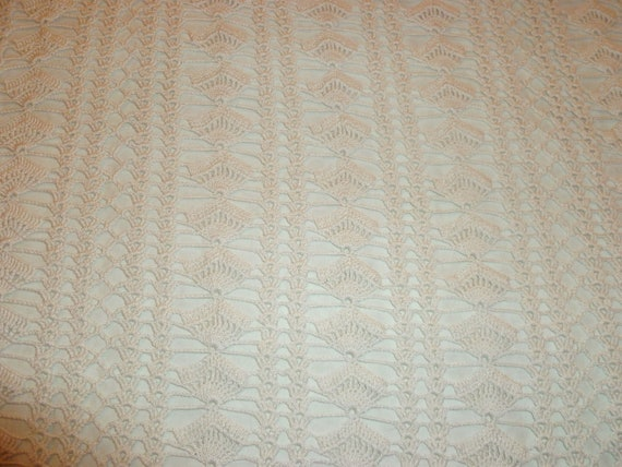 Crocheted cotton double bedspread, cover, coverlet, vintage french home decor, Paris appartment interior design