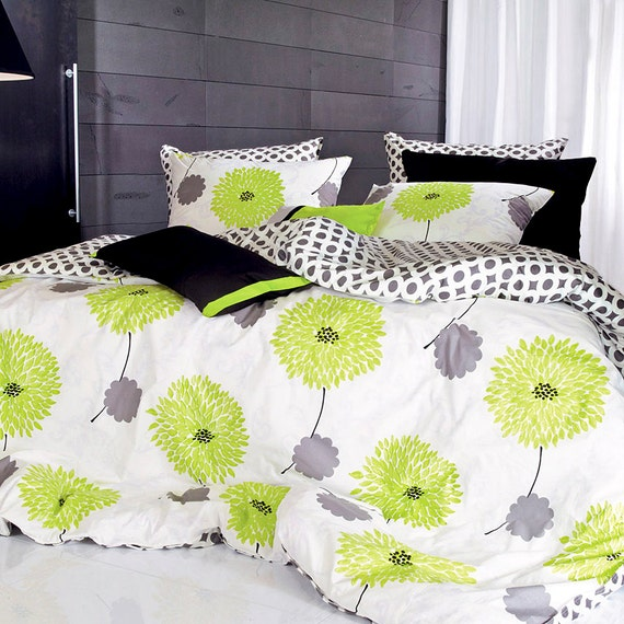 Green And Grey Bedroom: 1100TC Lime Green & Gray Floral Queen Duvet Cover Set By