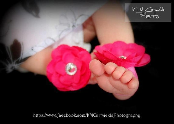 Hot Pink Baby Barefoot Flower Sandals for Newborn Baby or Toddler Girls / Baby Booties / Baby Sandles