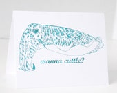 Cuttlefish, Funny cards, Wanna Cuttle, Anniversary, Love, Birthday, blank cards, green, cards for men