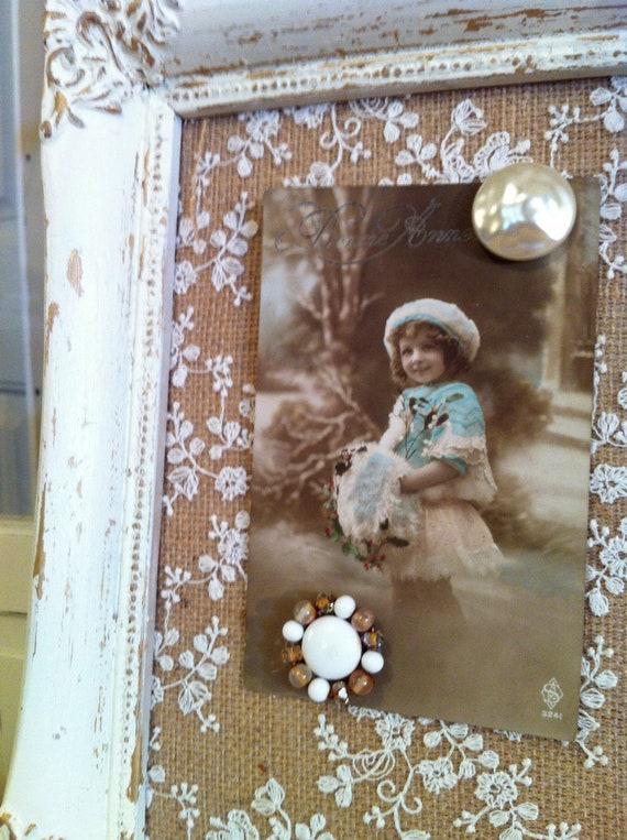 Vintage Burlap Amp Lace Magnetic Picture Frame