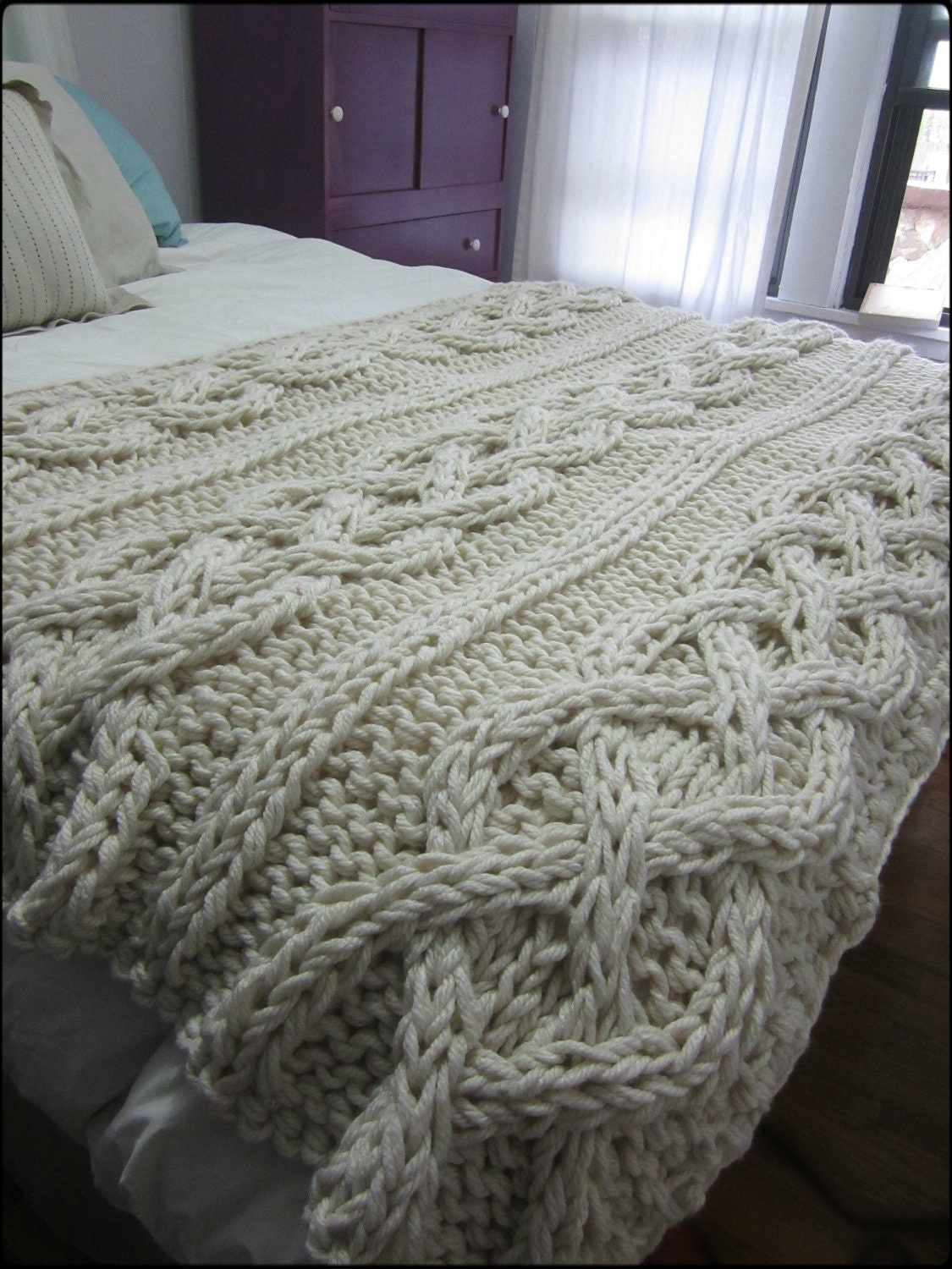 Cable Knit Blanket Made-To-Order by OzarksMomma on Etsy