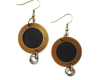 Antique Gold Disc Earrings with Leather Insert, Leather Earrings, Dangle Earrings
