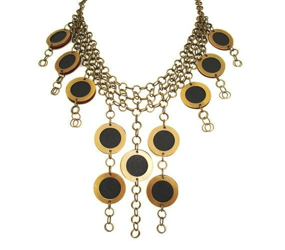 Bohemian Jewellery Black Leather Jewellery Antique Gold Necklace Statement Jewellery Evening Necklace Gift for Her