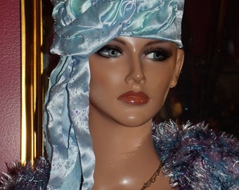 Flapper Hat Cloche  1920 style Personalized  Headdress Millinery ArtWork Floral Fringe