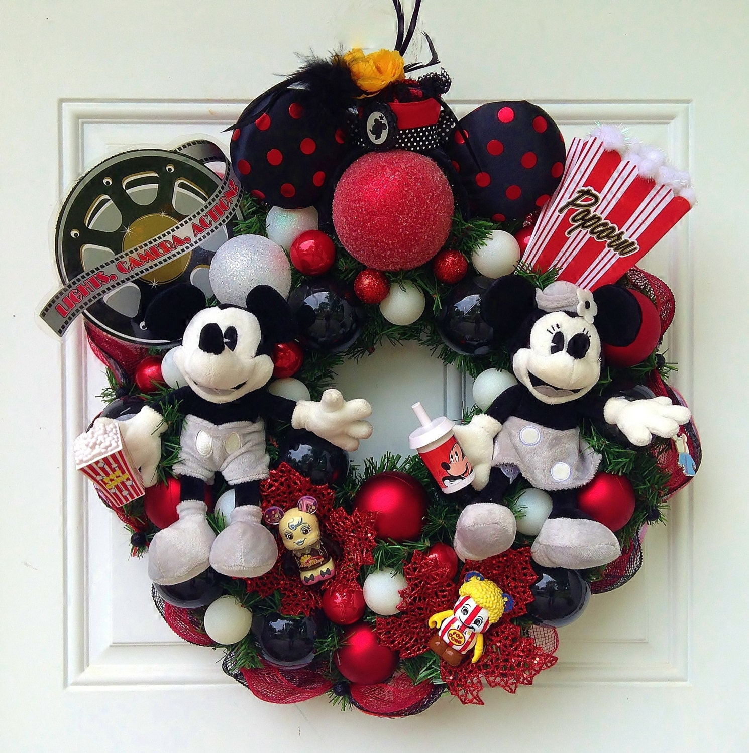 Mickey and minnie mouse wreath for Adornos navidenos mickey mouse