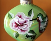 Hand painted iridescent glass Christmas tree holiday ornament, red roses, hummingbirds, green leaves