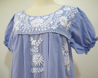Mexican Embroidered Dress Puff Sleeves Tunic In Blue, Boho Dress Bohemian Style
