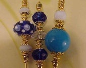 3 Diff Hatpins Beautiful Blue Beads 6 inches long. .We sell hat stick  pin blanks,make your own,findings supplies...S36