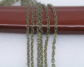 32ft of 3x4mm Flat Link,Antique Brass Plated Iron Cross Flat Cable Chain--Unsoldered