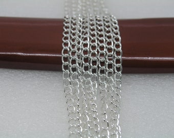 16ft of 4x6mm Silver Plated Iron Twisted Oval Cable Chain With Dense Lines Pattern--Unsoldered