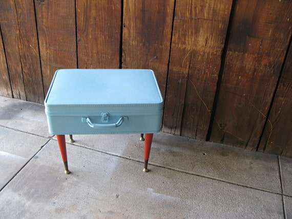 Vintage Refurbished Mid Century Modern Suitcase Table