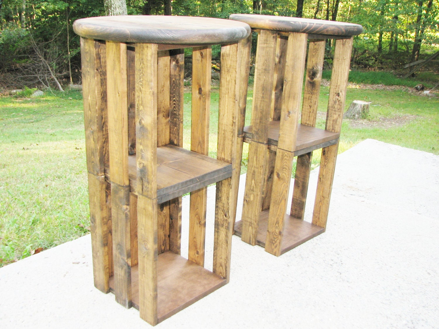 Wood Bar Stool Farmhouse Rustic Industrial Crate