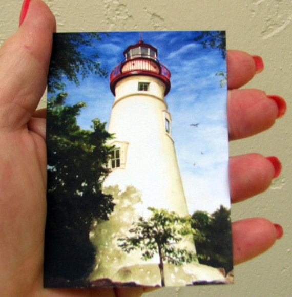 """ACEO Fine Art Print / From Original Watercolor /  Of a Lighthouse / Size 2.5""""x 3.5"""""""