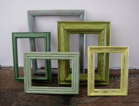 Green Empty Picture Frame Set of 5 Gallery Wall Collection
