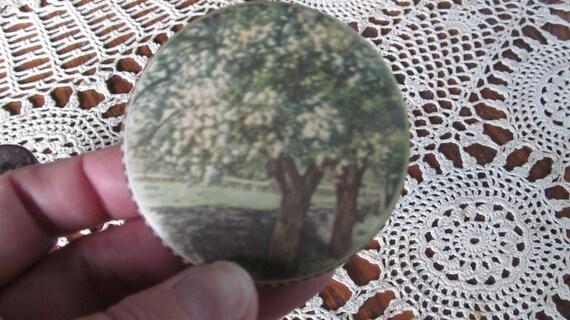 1920s Cherry Blossom Tree Antique Victorian Vanity  Mirror Cottage Chic Pocket Purse Mirror  Hand Mirror