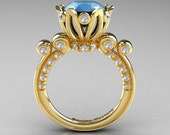 Rserved - French Antique 14K Yellow Gold 3.0 Carat Sleeping Beauty Turquoise Diamond Solitaire Wedding Ring Y235-14KYGDSBT