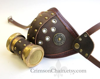 Brown Canister Mask - size small - by Crimson Chain Leatherworks