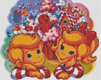 Vintage Retro Candyland Board Game Handmade Altered Art PDF Cross-Stitch Pattern