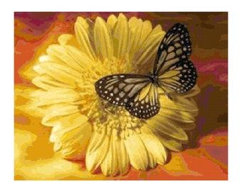 Handmade Yellow Gerbera Daisy with Butterfly PDF Cross Stitch Pattern