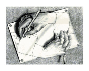 Handmade M.C. Escher Hand Drawing Hand PDF Cross-Stitch Pattern