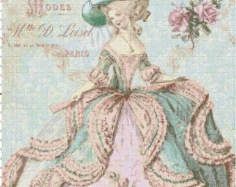 Marie Antoinette at the Paris Opera Shabby Chic Cross Stitch Pattern