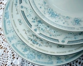 Vintage Light Blue Mismatched Shabby Dinner Plates--perfect for Wedding Keepsake or Housewarming