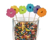 Flower Mini Cupcake Topper, Food Picks, Paper Flower Party Decor
