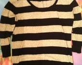 Black and Grey Striped Mid Sleeve Shirt