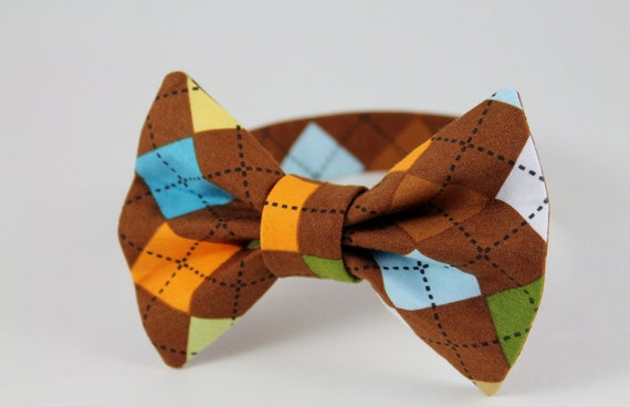 Brown Argyle Bow Tie