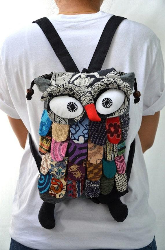 Large - Green Thai Unique Hip Bag Handmade Owl Patchwork Backpack Messenger CJ625