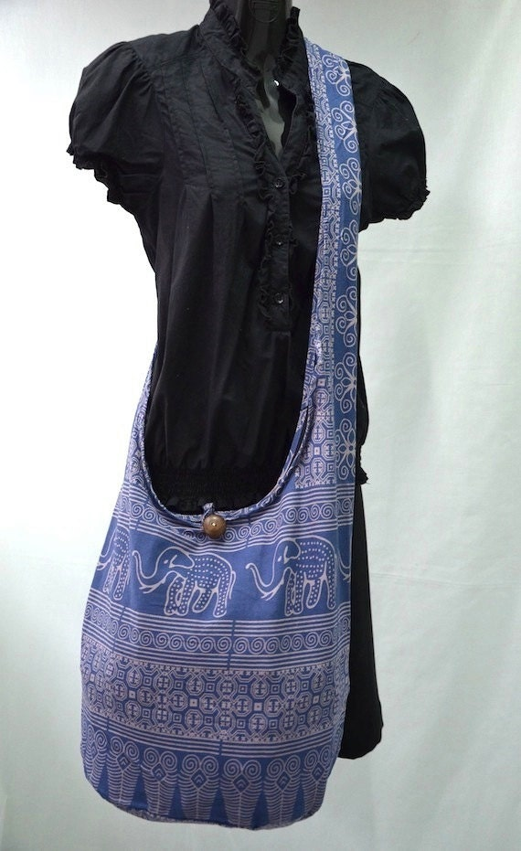 Classic Blue Cotton Printed Mammoths Still Alive Crossbody Shoulder Hippie Boho Hobo Messenger Bag MM215