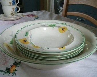 40s or 50s hand-painted dessert set