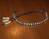 Black Hemp Anklet Hemp Ankle Bracelet - Pastel Rainbow Bracelet Rainbow Jewelry - Beaded Anklet Beaded Bracelet - Hemp Bracelet Black Anklet