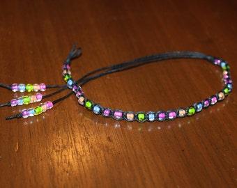 Hemp Anklet Ankle Bracelet Beaded Anklet Black Anklet Bracelet Pastel Rainbow Jewelry Rainbow Bracelet Beaded Bracelet Pastel Goth Jewelry