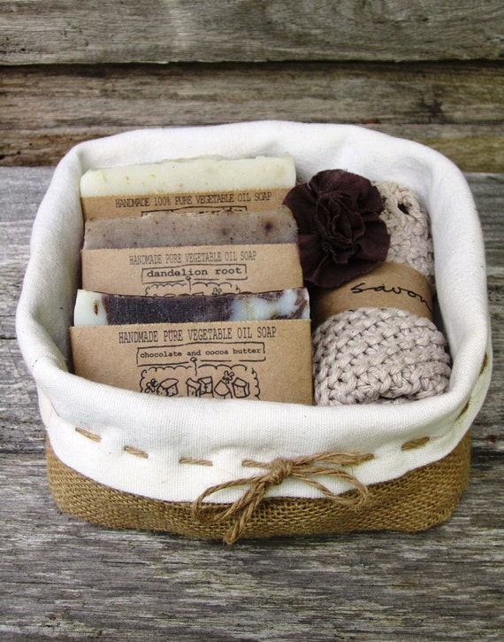 Handmade Soap Baskets : Gift pack basket soap set handmade by savonasoaps