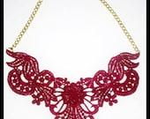 Maroon / Burgundy / Bordeaux Lace Bib Statement Necklace